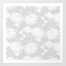 White Floral Poms Art Print