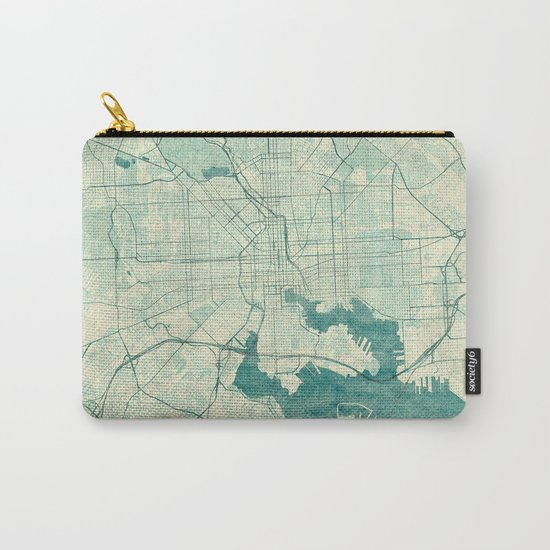 Baltimore Map Blue Vintage Carry-All Pouch