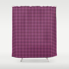 Mini Black and Pink Cowboy Buffalo Check Shower Curtain