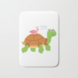 Cute Snail Riding Turtle Animal Friends Bath Mat