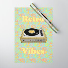 Retro Vibes Record Player Design in Yellow Wrapping Paper