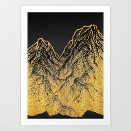 "遠望 series -""Gold Valley"" - Linocut Art Print"