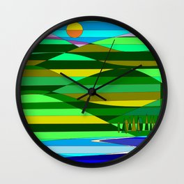 Mountain and Lake Quilted Wall Clock