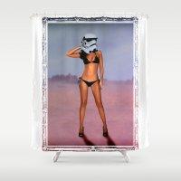 starwars Shower Curtains featuring Starwars chick 03 by rudziox