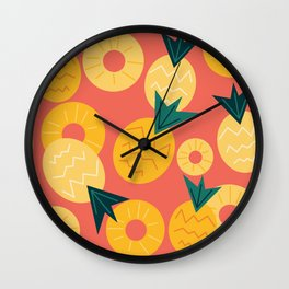 Cute summertime colorful pineapples seamless pattern background Wall Clock