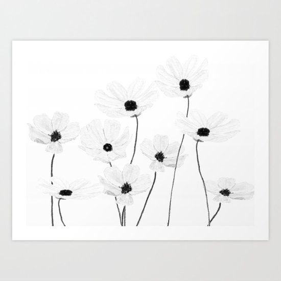 black and white cosmos Art Print