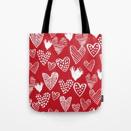 Herats red and white pattern minimal valentines day cute girly gifts hand drawn love patterns Tote Bag