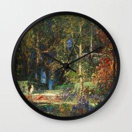 Garden Romance by Thomas Mostyn Wall Clock