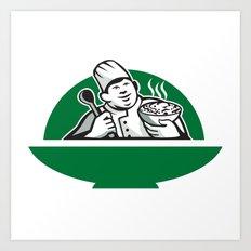 Fat Chef Cook Holding Bowl Spoon Retro Art Print