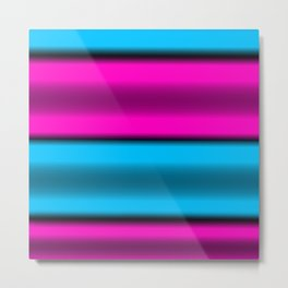 Pink & Blue Horizontal Stripes Metal Print