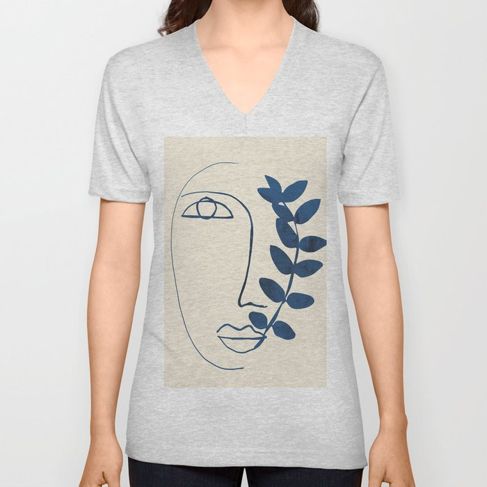 Abstract Face 5 Unisex V-Neck