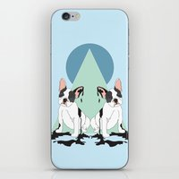 pugs iPhone & iPod Skins featuring Pugs (Blue) by Anna McKay