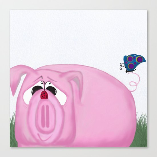 Chumley The Pig And His Visitors Canvas Print