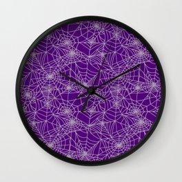 Purple Cobwebs Wall Clock