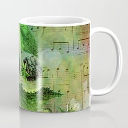 Blackberry Music, Vintage Botanical Illustration Collage Art Coffee Mug