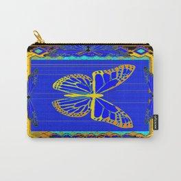 Lapis Blue & Gold Monarch Western Art design Carry-All Pouch