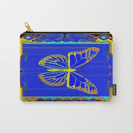 Lapis Blue & Gold Monarch Western Art design Carry-All Pouch