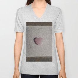 Rose Quartz heart in a zen garden Unisex V-Neck