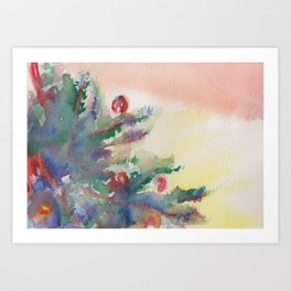 'A Little Holiday Cheer' Watercolor Painting Art Print