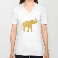 gold foil V-neck T-shirts featuring Gold Foil Elephant by Mod Pop Deco