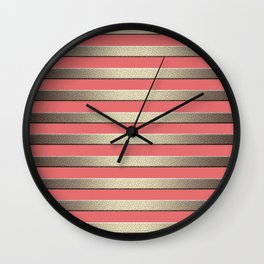 Striped Golden coral Wall Clock