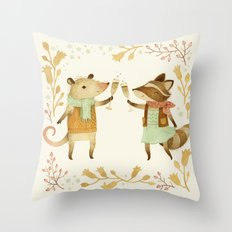 Cheers! From Pinknose the Opossum & Riley the Raccoon Throw Pillow