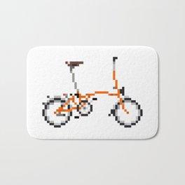 Pixel Art Brompton bicycle - Orange Bath Mat