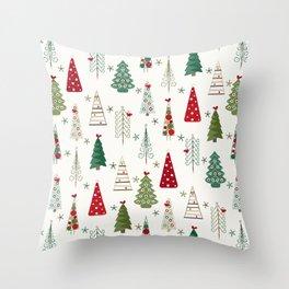 Scandinavian Christmas Trees Pattern - Red Green Throw Pillow