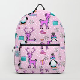 Christmas, Playful Deer and Penguins in a Pink Tutu Backpack