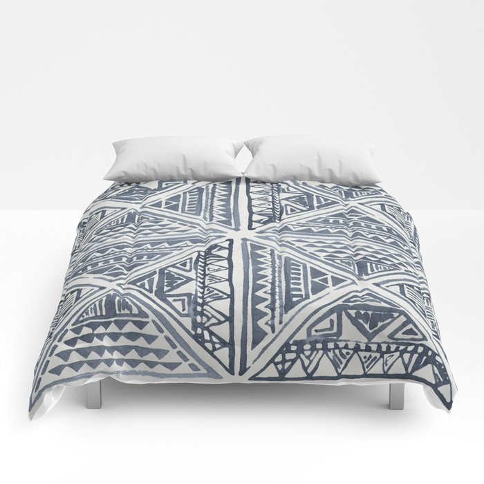 Simply Tribal Tile in Indigo Blue on Lunar Gray Comforters