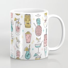 Tropical cocktails summer drinks pineapple tiki bar pattern by andrea lauren Coffee Mug