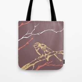 Bird on branch (purple, pink, yellow, white) illustration Tote Bag