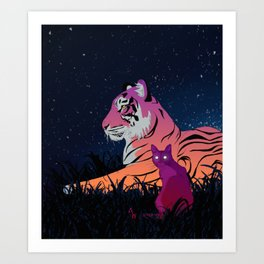 Tiger and Cat at Night Art Print