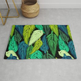 Watercolor Macrame Feather Toss in Black + Green Rug