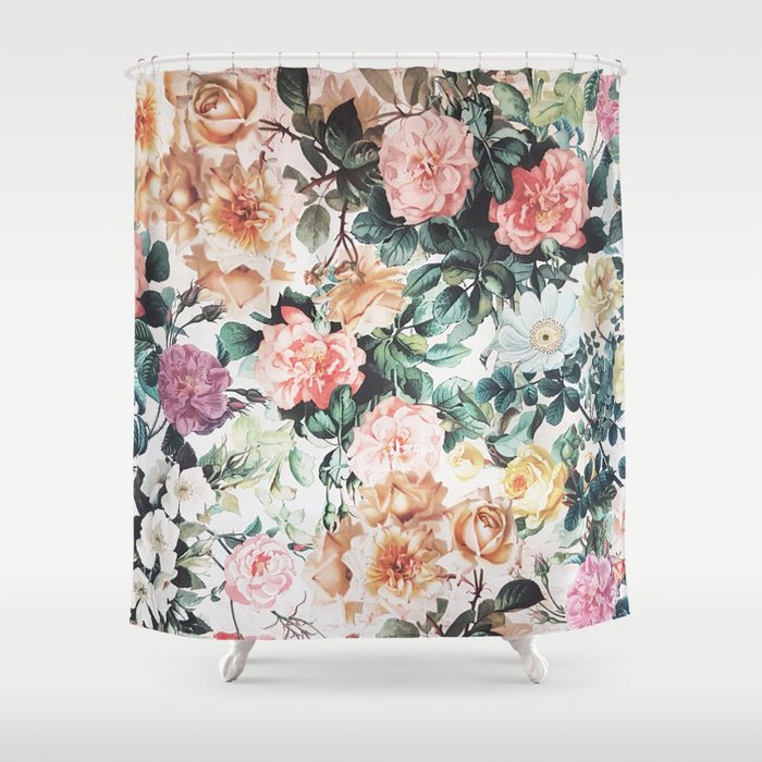 Vintage Green Pink Yellow Watercolor Roses Floral Shower Curtain