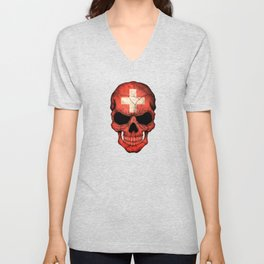Dark Skull with Flag of Switzerland Unisex V-Neck