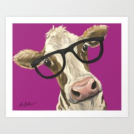 Cute Glasses Cow, Colorful Cow With Glasses Art Print