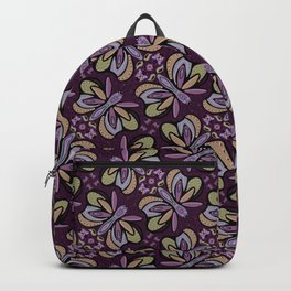 Field of Lilac Butterflies , Purple Wings Patterns in Geometric Formation with Flowers Backpack
