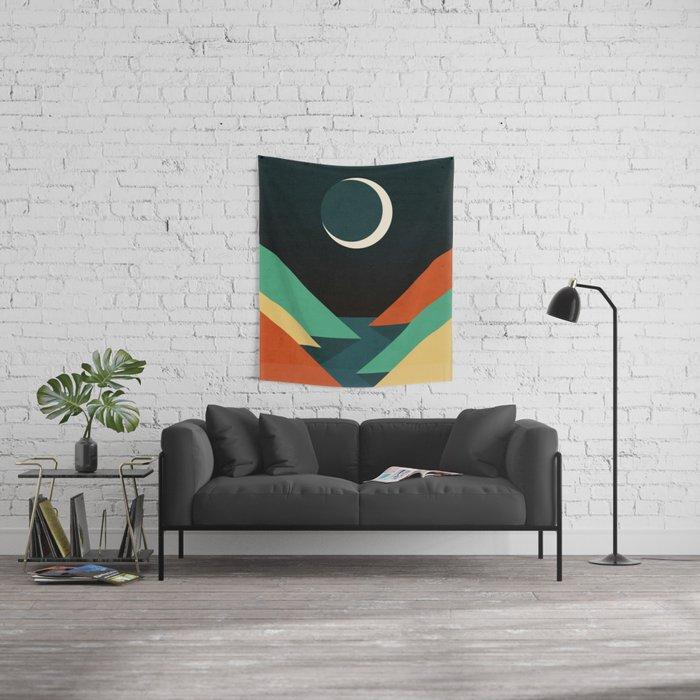 Quiet stream under crescent moon Wall Tapestry