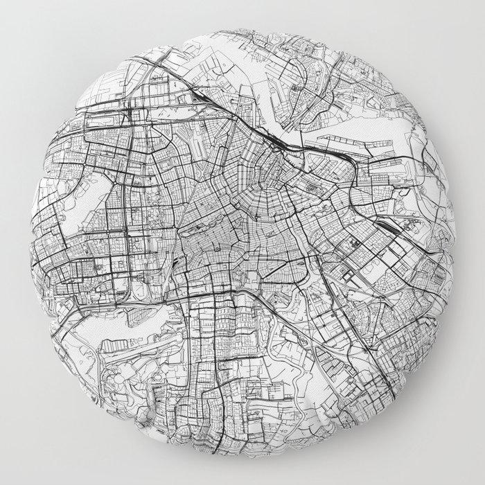Amsterdam White Map Floor Pillow