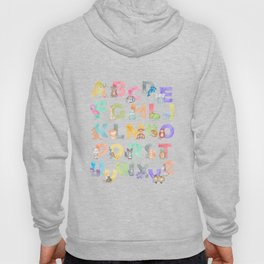 Watercolor Alphabet Animals Hoody