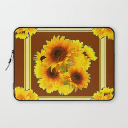 CHOCOLATE BROWN YELLOW SUNFLOWER BOUQUETS Laptop Sleeve