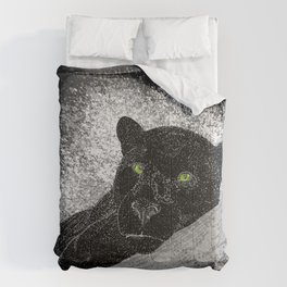 Black panther on a branch - Grey Comforters