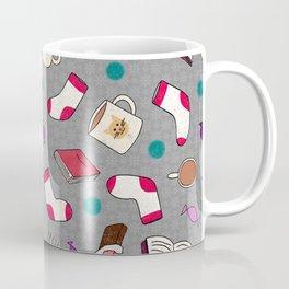 Bookworm Print on Gray Coffee Mug
