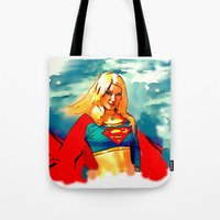 supergirl Tote Bags featuring Supergirl Patriot by OverseerN