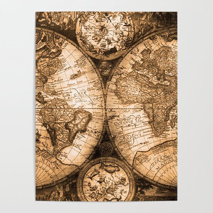 World Map Antique Vintage Maps Poster by naturemagick