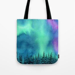 """Wilderness Lights"" Aurora Borealis watercolor landscape painting Tote Bag"