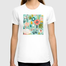 Mid-Century Modern Floral Print With Trendy Leaves T-shirt