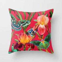 Butterflies in the iris garden Throw Pillow
