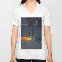 korra V-neck T-shirts featuring Korra Fighting  by Paula Urruti